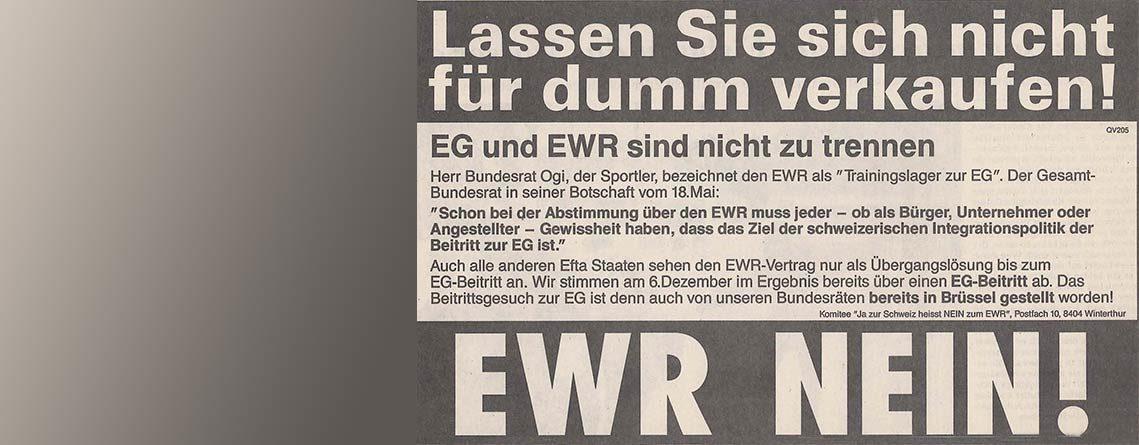 24 Jahre EWR-NEIN – souverän in die Zukunft